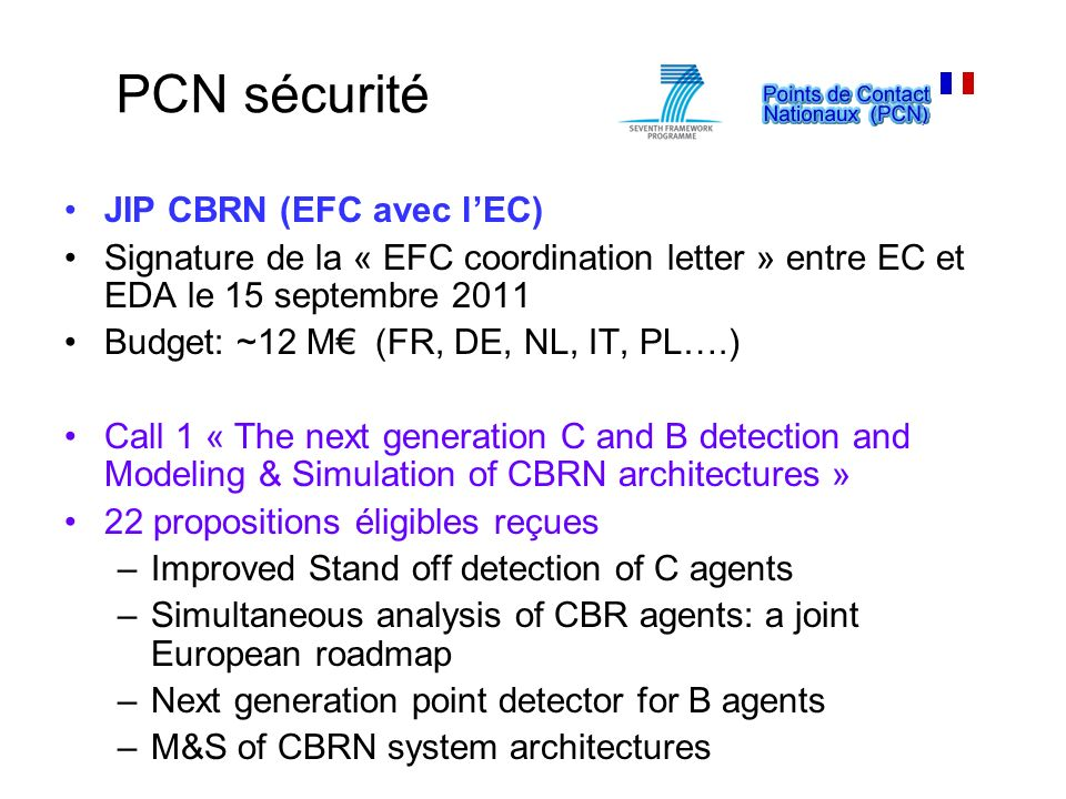 PCN sécurité JIP CBRN (EFC avec l'EC)