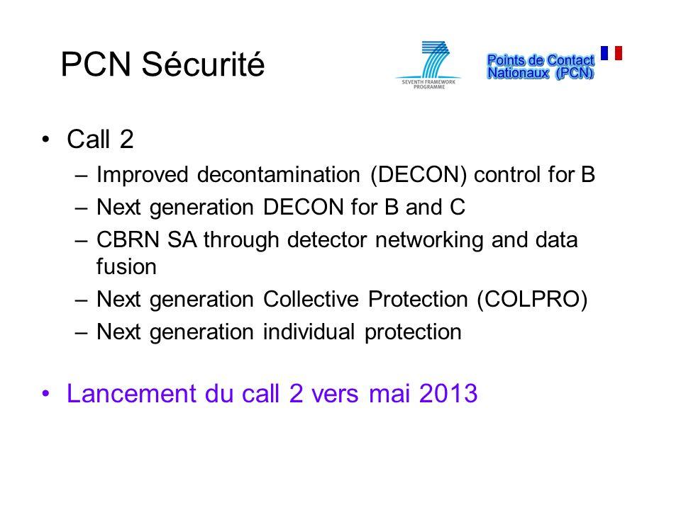 PCN Sécurité Call 2 Lancement du call 2 vers mai 2013