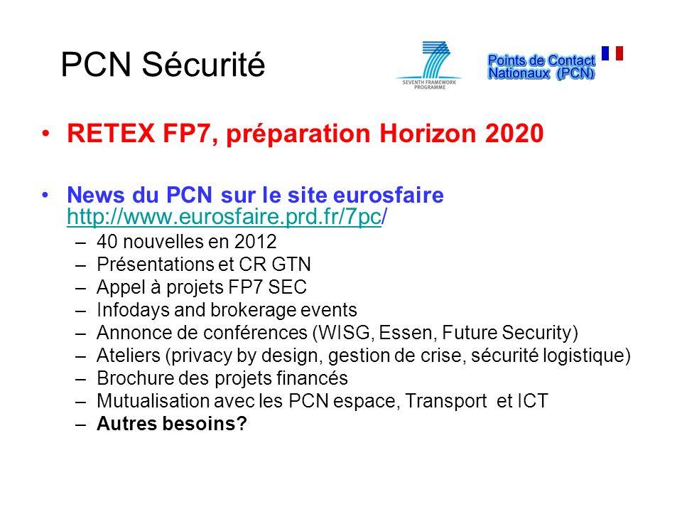 PCN Sécurité RETEX FP7, préparation Horizon 2020