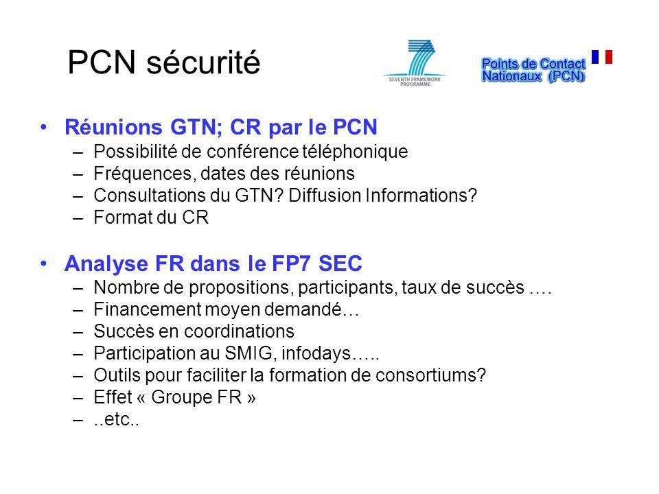PCN sécurité Réunions GTN; CR par le PCN Analyse FR dans le FP7 SEC