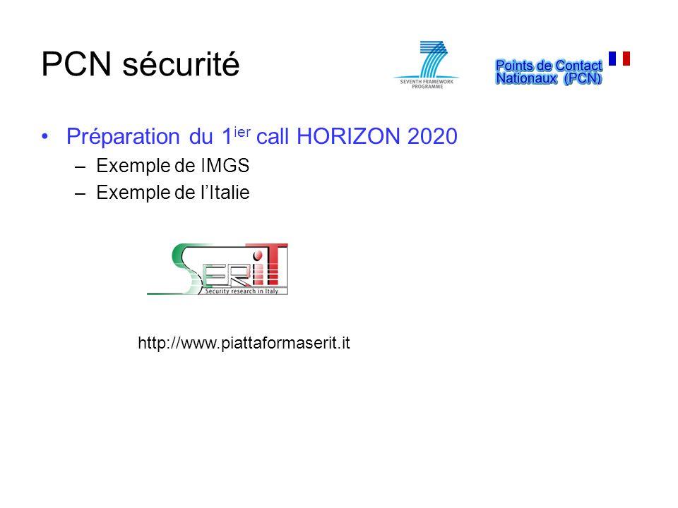 PCN sécurité Préparation du 1ier call HORIZON 2020 Exemple de IMGS