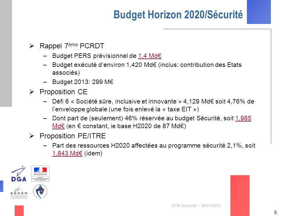 Budget Horizon 2020/Sécurité