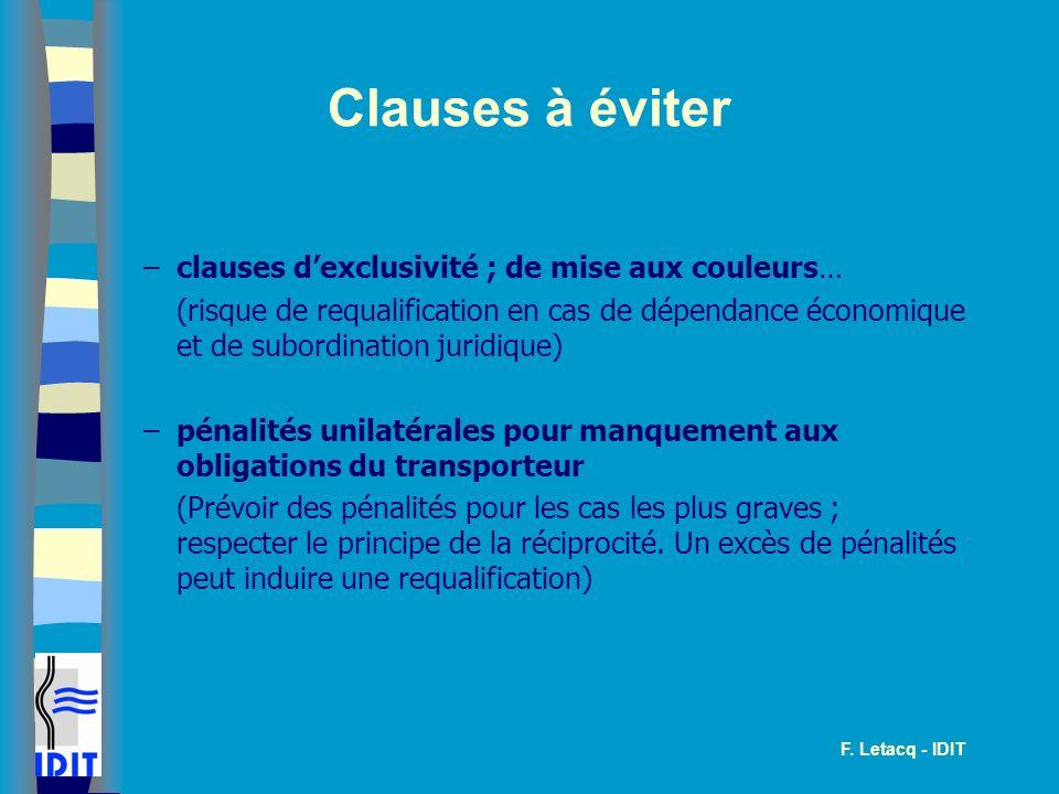 Clauses à éviter clauses d'exclusivité ; de mise aux couleurs…