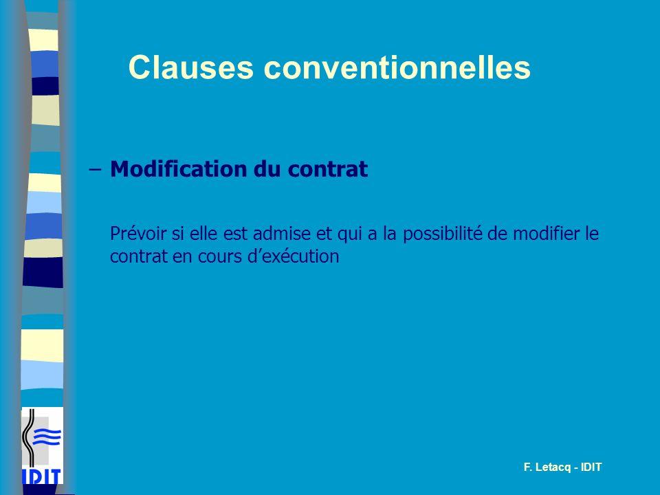 Clauses conventionnelles