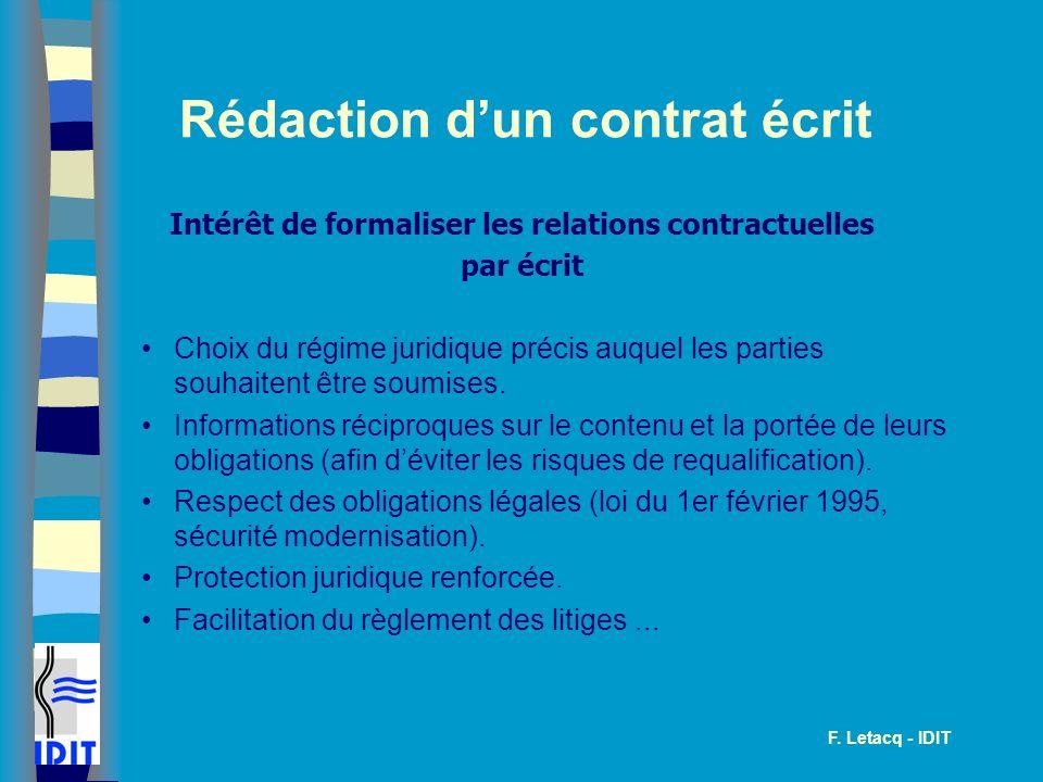 Rédaction d'un contrat écrit