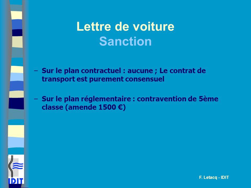 Lettre de voiture Sanction