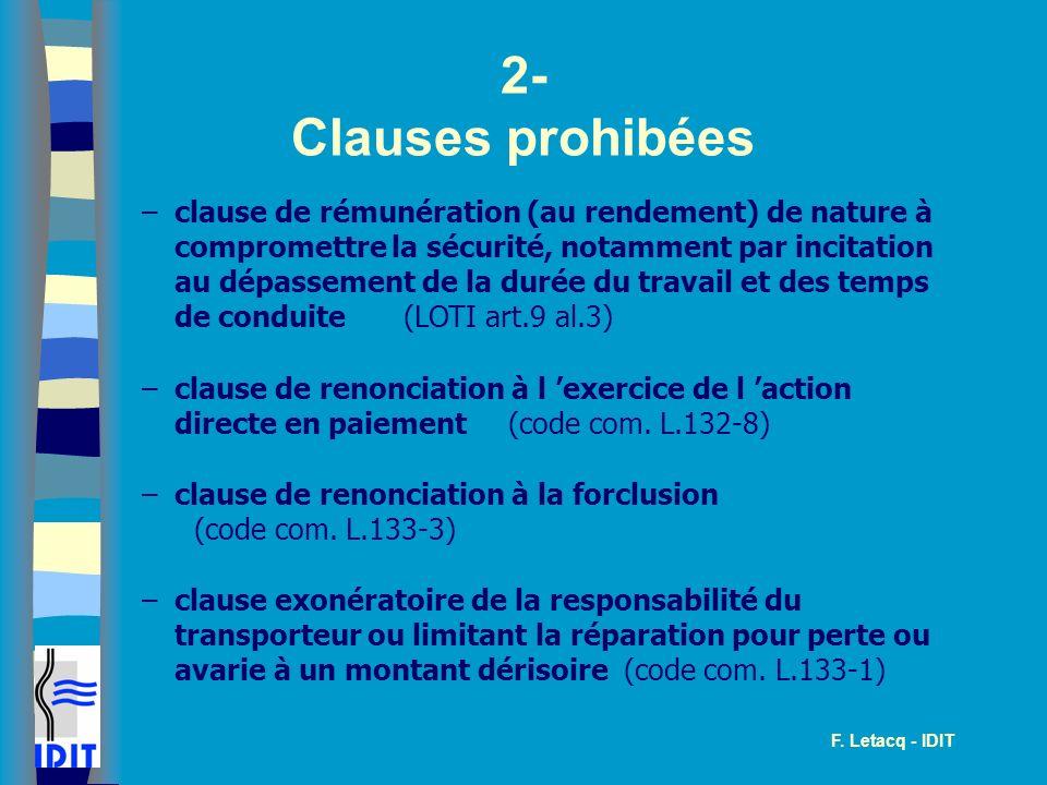 2- Clauses prohibées.