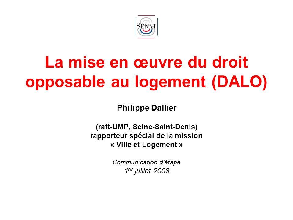 La mise en œuvre du droit opposable au logement (DALO)