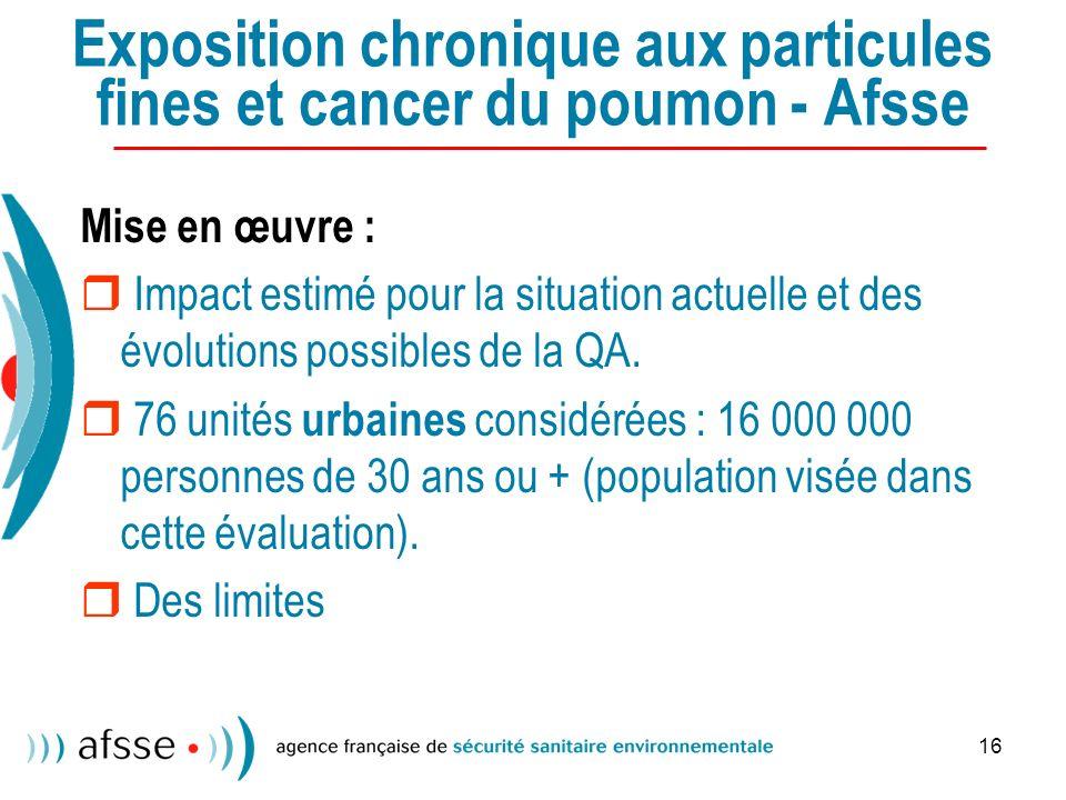 Exposition chronique aux particules fines et cancer du poumon - Afsse