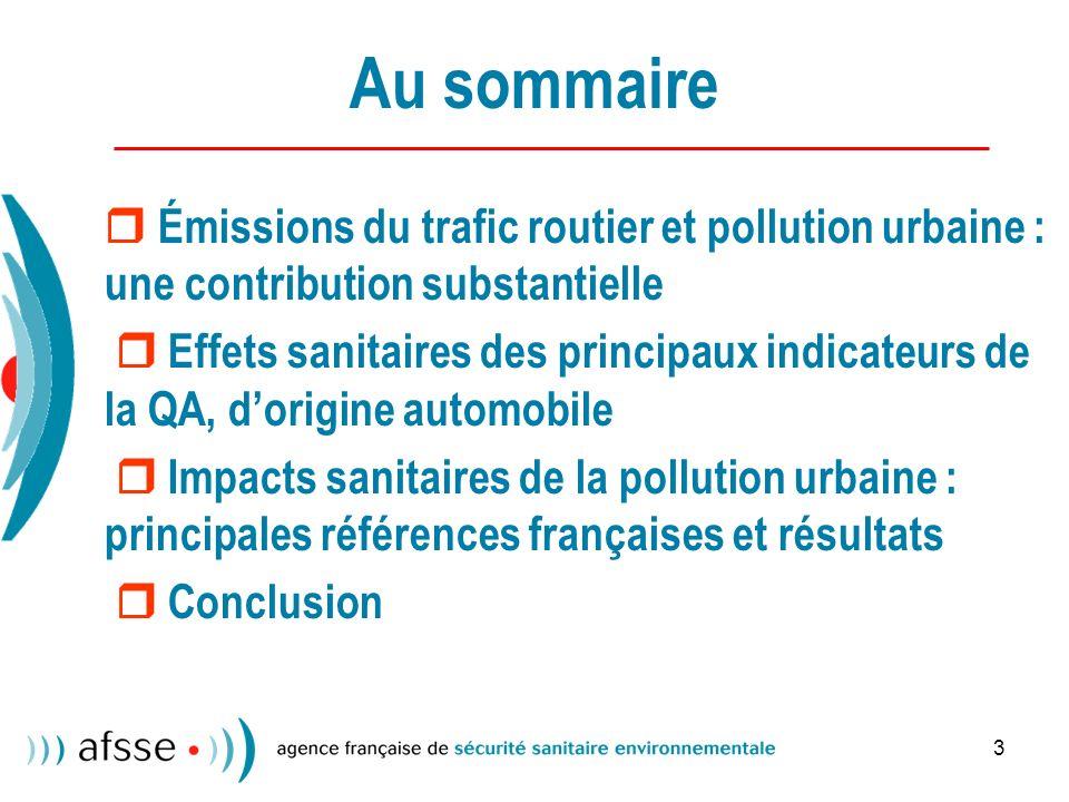 Au sommaire  Émissions du trafic routier et pollution urbaine : une contribution substantielle.