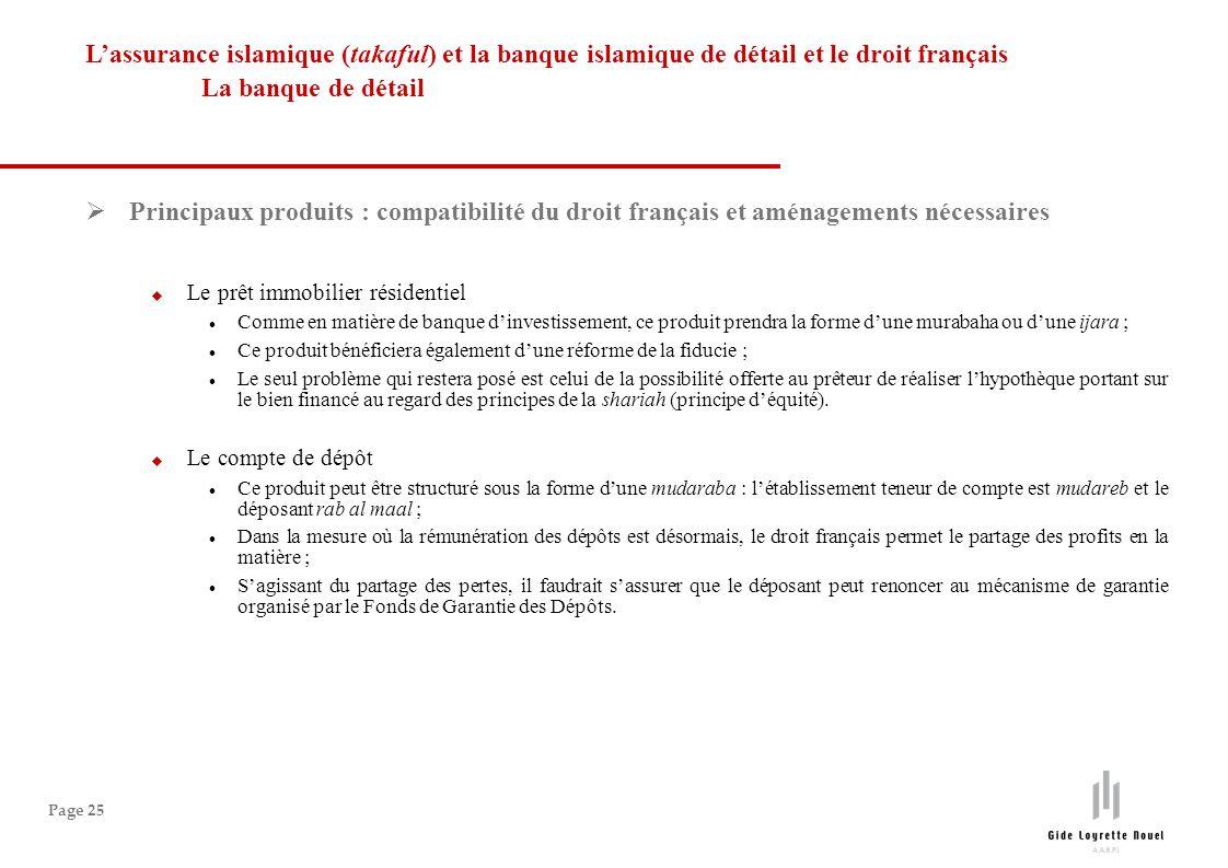L'assurance islamique (takaful) et la banque islamique de détail et le droit français La banque de détail