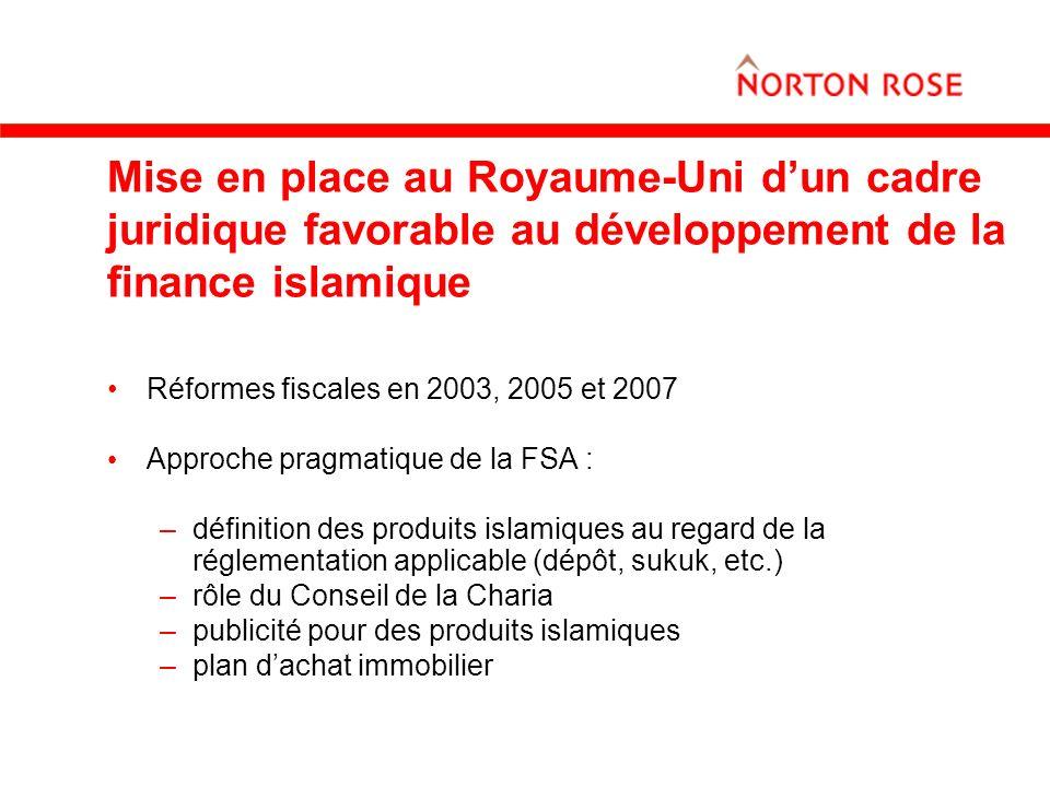 Mise en place au Royaume-Uni d'un cadre juridique favorable au développement de la finance islamique