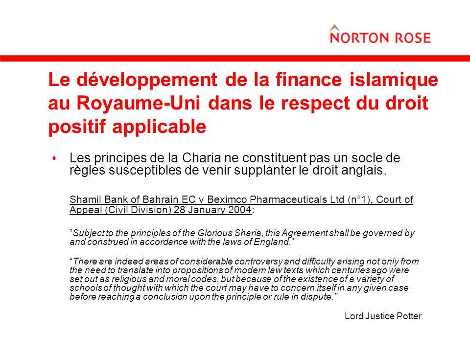 Le développement de la finance islamique au Royaume-Uni dans le respect du droit positif applicable