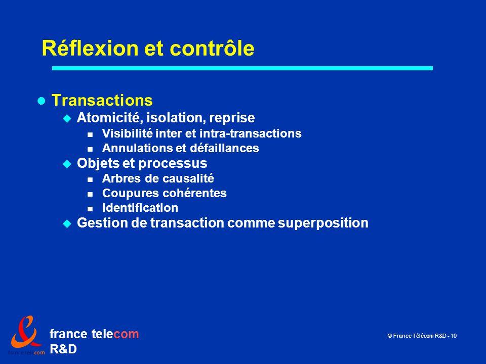 Réflexion et contrôle Transactions Atomicité, isolation, reprise