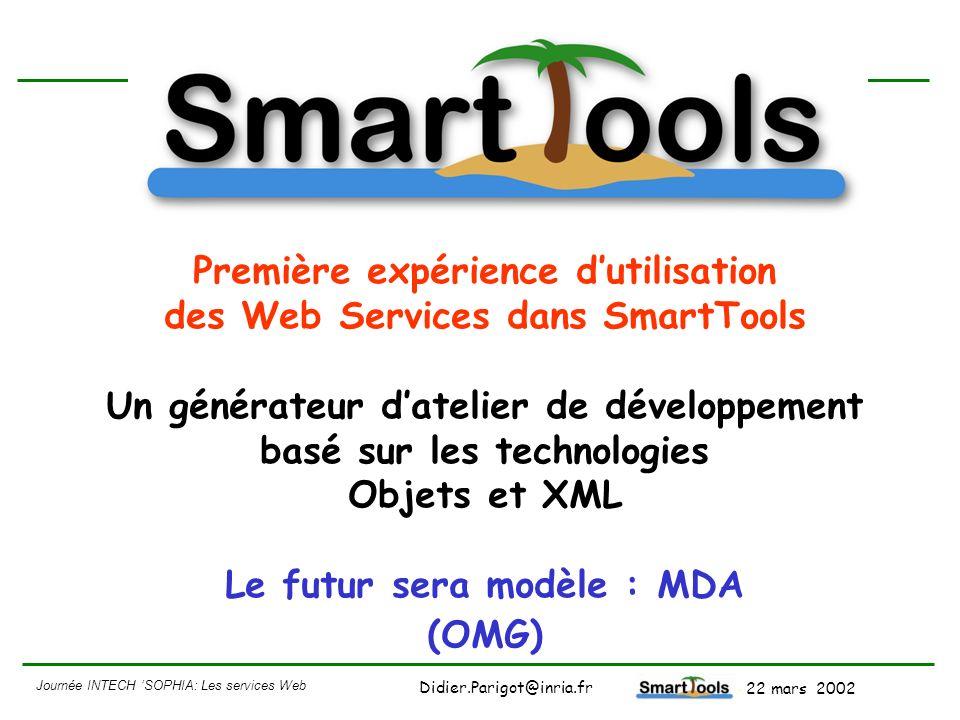 Première expérience d'utilisation des Web Services dans SmartTools Un générateur d'atelier de développement basé sur les technologies Objets et XML Le futur sera modèle : MDA (OMG)