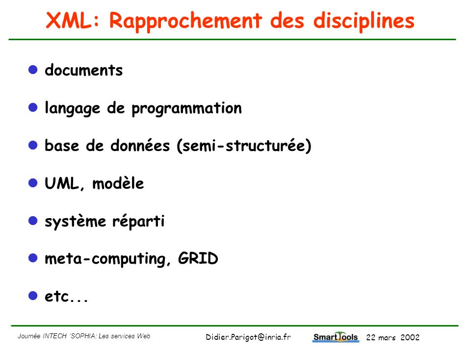 XML: Rapprochement des disciplines