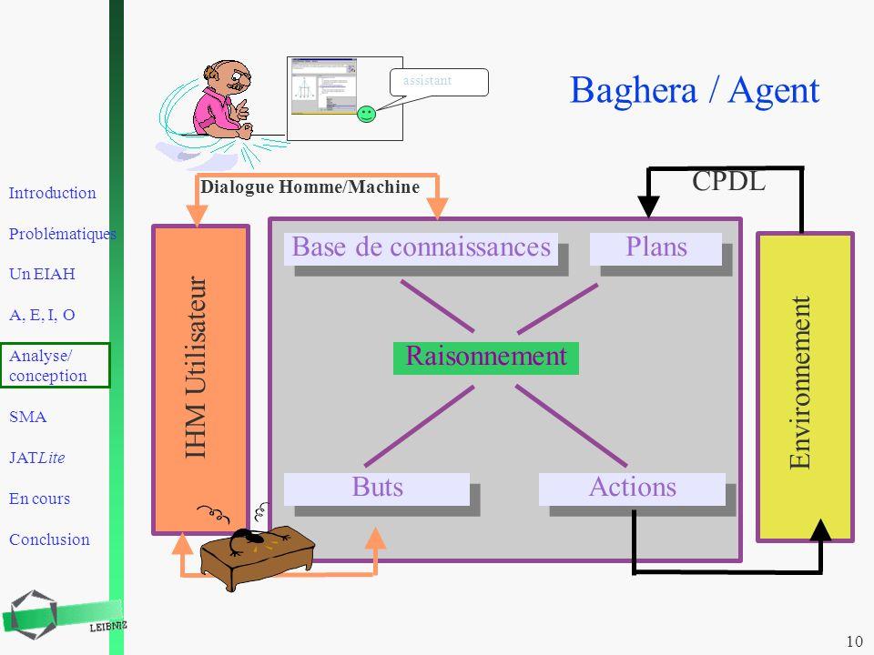 Baghera / Agent CPDL Base de connaissances Plans Raisonnement