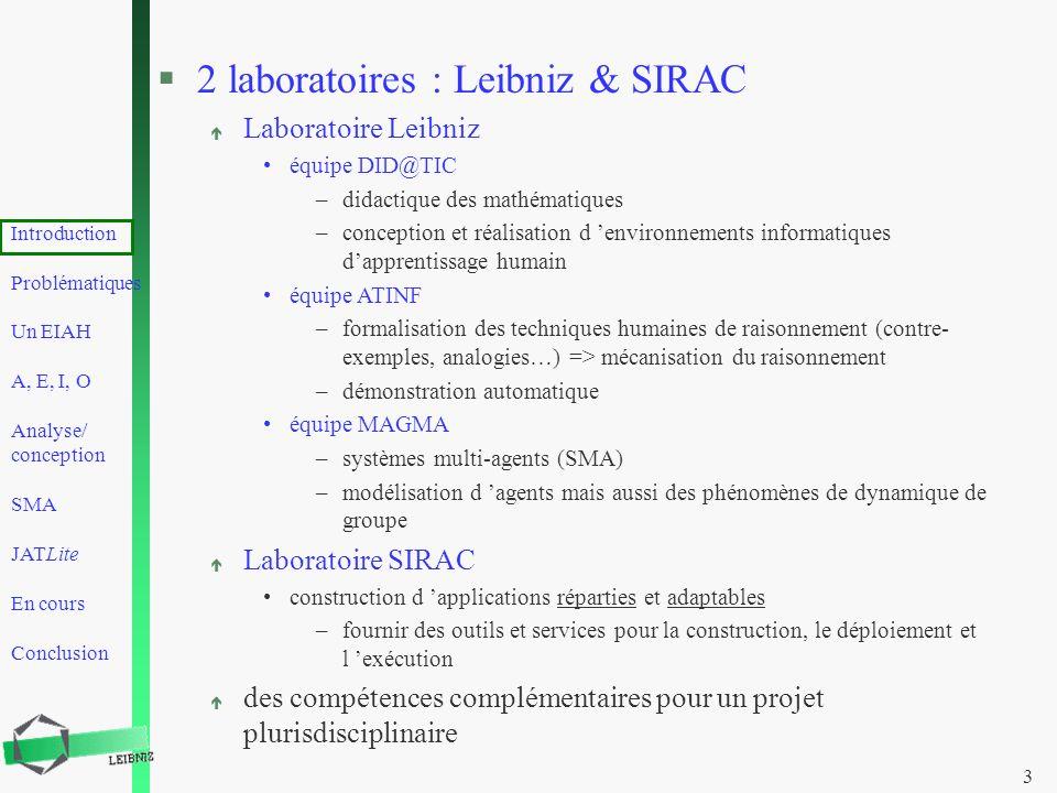 2 laboratoires : Leibniz & SIRAC