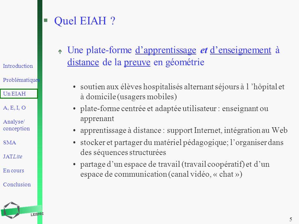Quel EIAH Une plate-forme d'apprentissage et d'enseignement à distance de la preuve en géométrie.