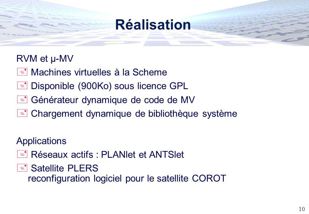 Réalisation RVM et µ-MV Machines virtuelles à la Scheme