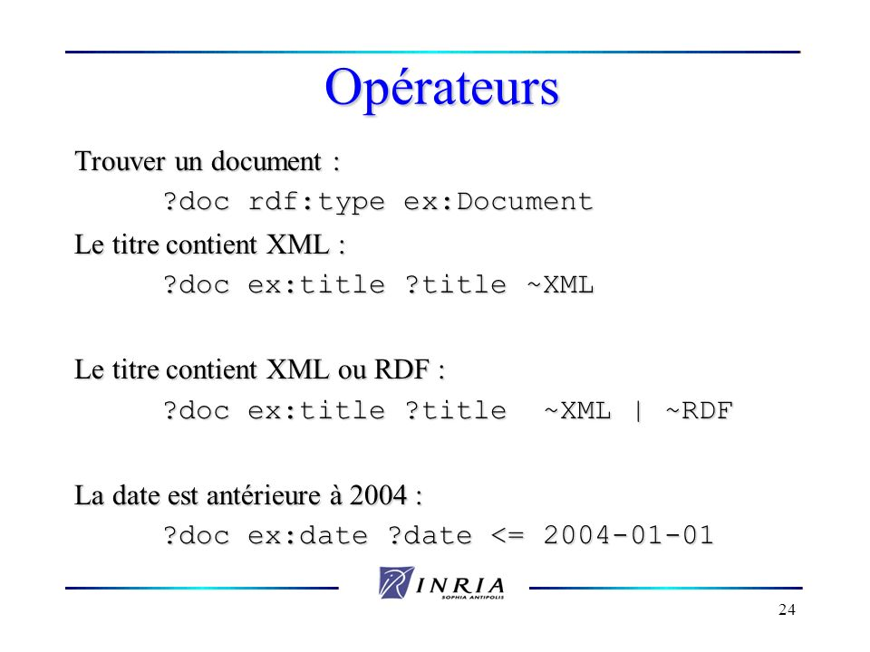 Opérateurs Trouver un document : doc rdf:type ex:Document