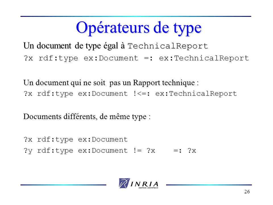 Opérateurs de type Un document de type égal à TechnicalReport
