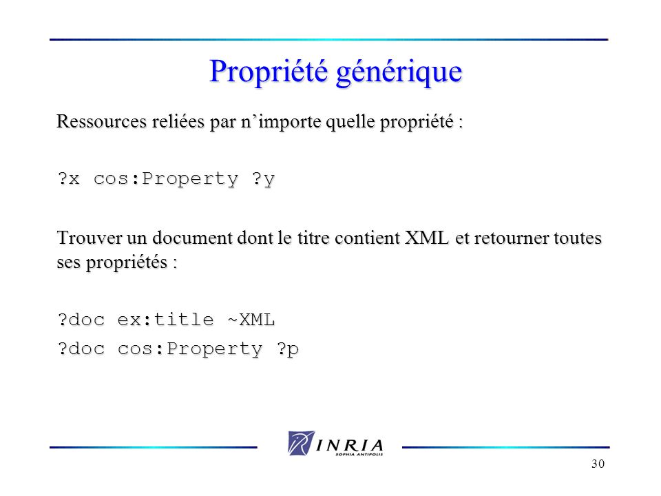 Propriété générique Ressources reliées par n'importe quelle propriété : x cos:Property y.