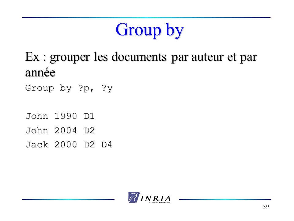 Group by Ex : grouper les documents par auteur et par année