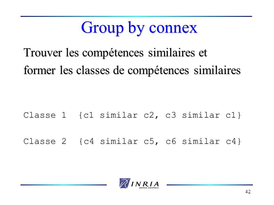 Group by connex Trouver les compétences similaires et