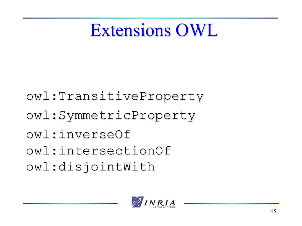 Extensions OWL owl:TransitiveProperty owl:SymmetricProperty