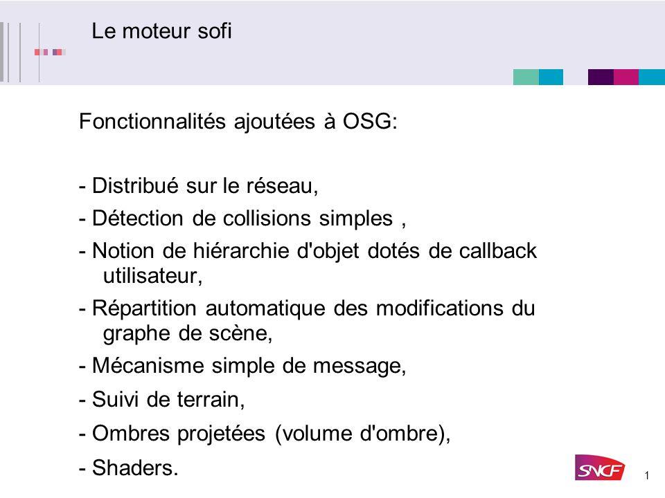 Le moteur sofi Fonctionnalités ajoutées à OSG: - Distribué sur le réseau, - Détection de collisions simples ,