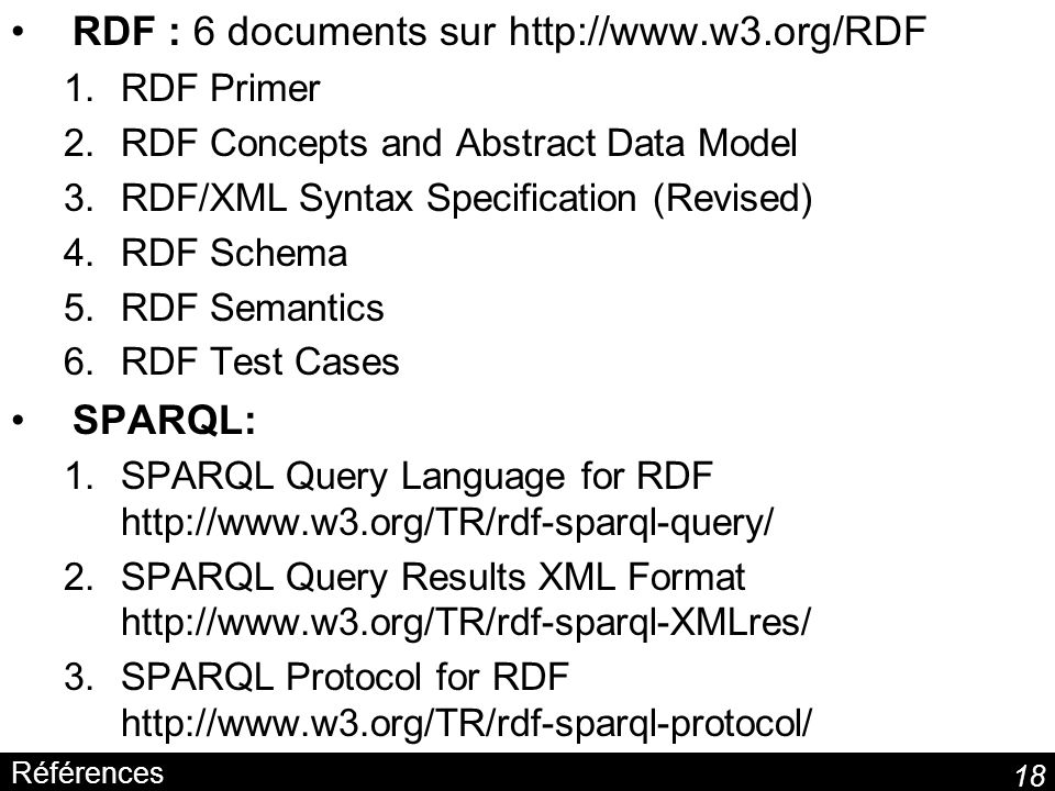 RDF : 6 documents sur http://www.w3.org/RDF
