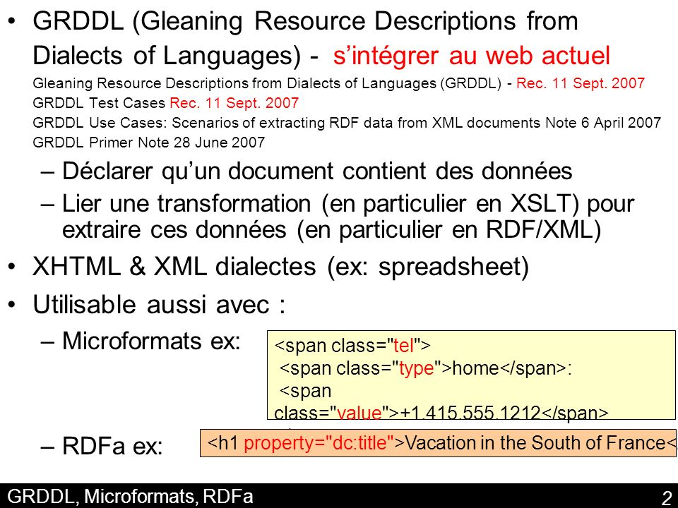 GRDDL, Microformats, RDFa