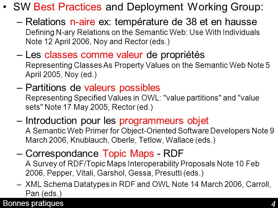 SW Best Practices and Deployment Working Group: