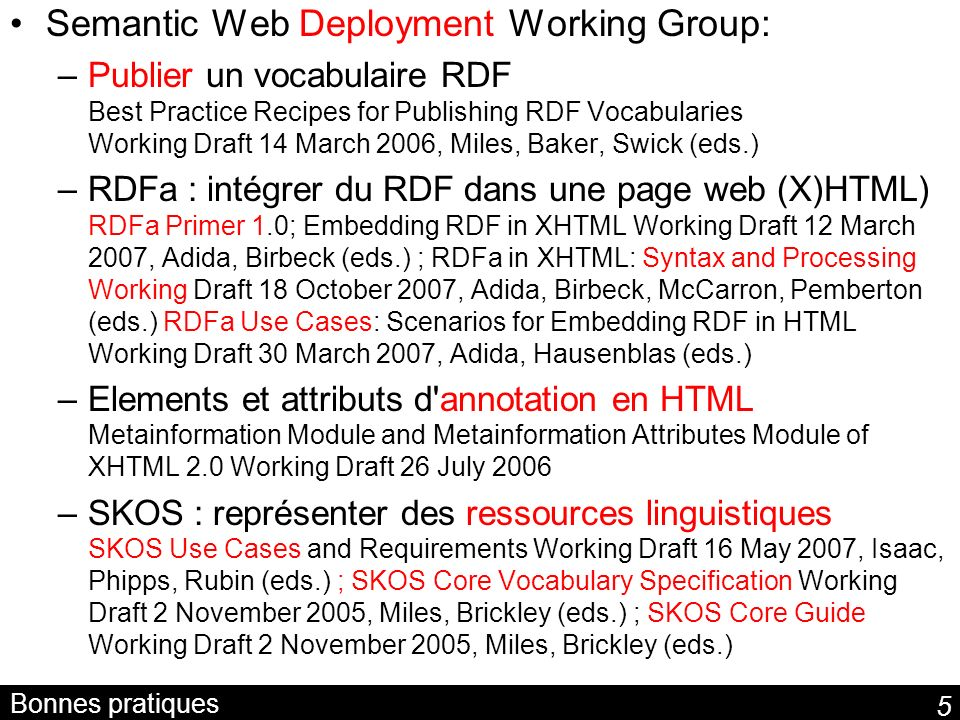 Semantic Web Deployment Working Group: