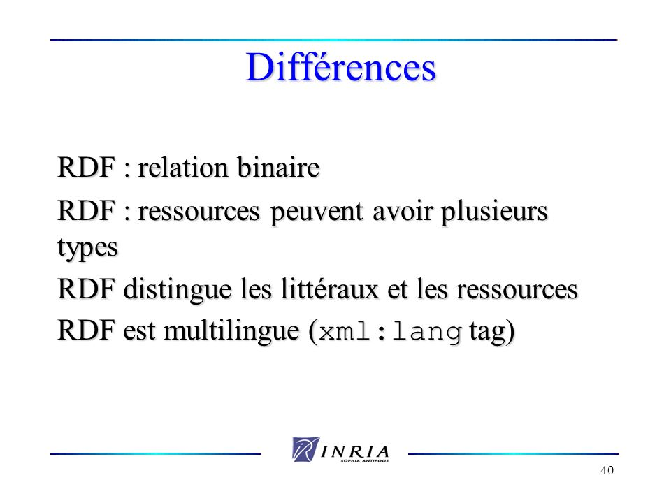 Différences RDF : relation binaire
