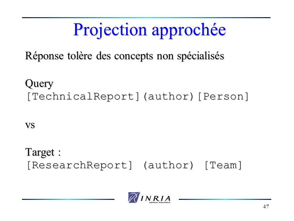 Projection approchée Réponse tolère des concepts non spécialisés Query