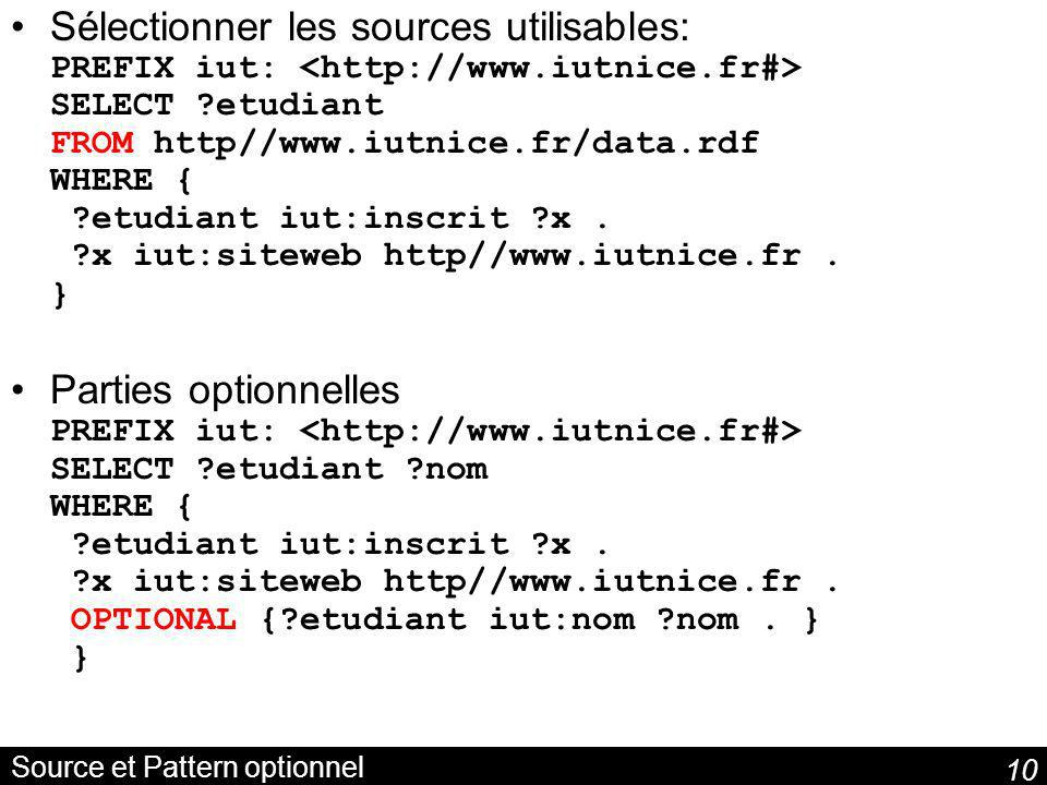 Source et Pattern optionnel
