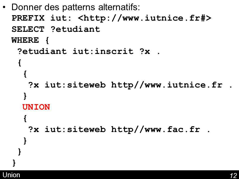 Donner des patterns alternatifs: PREFIX iut: <http://www. iutnice