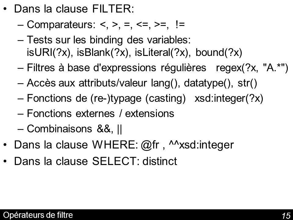 Dans la clause WHERE: @fr , ^^xsd:integer