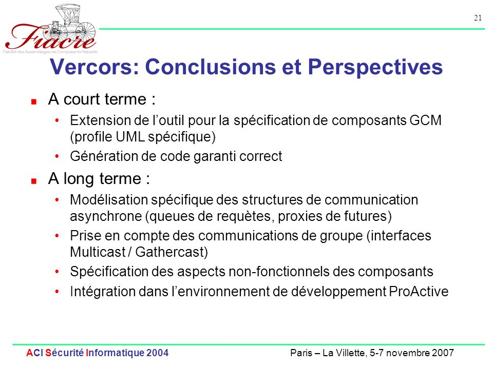 Vercors: Conclusions et Perspectives