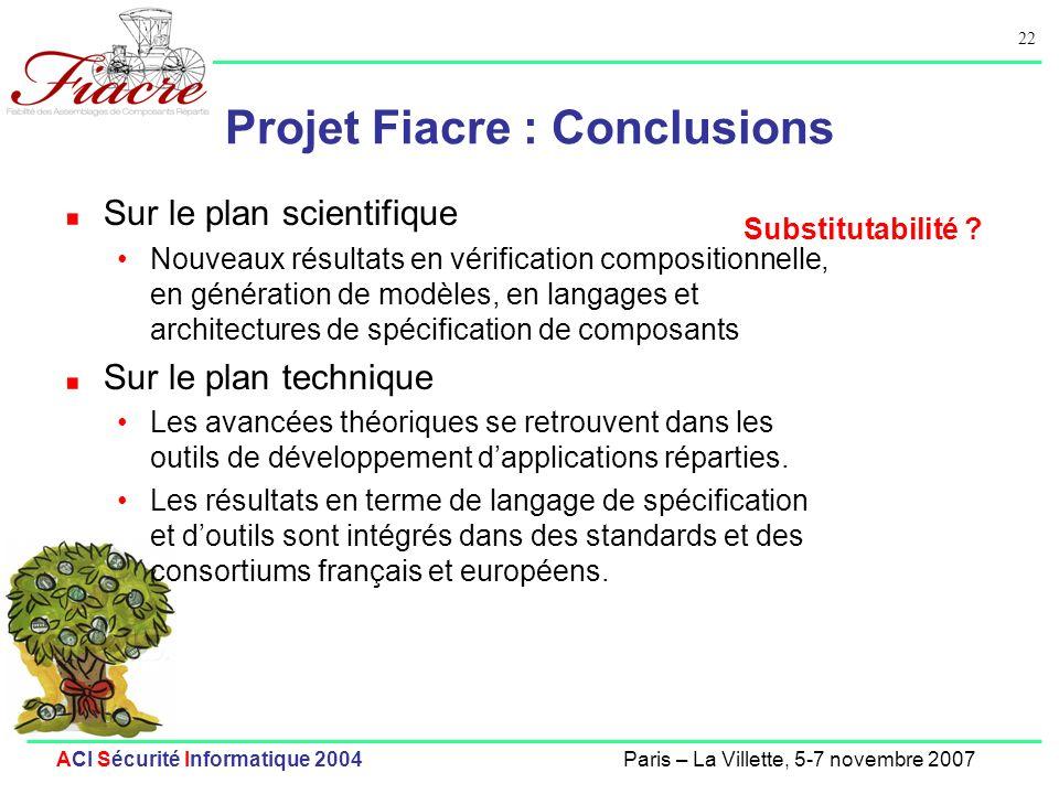 Projet Fiacre : Conclusions