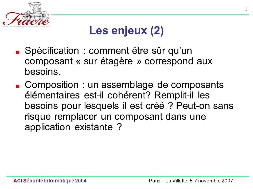 Les enjeux (2)Spécification : comment être sûr qu'un composant « sur étagère » correspond aux besoins.