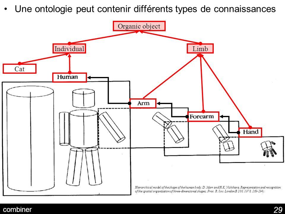 Une ontologie peut contenir différents types de connaissances
