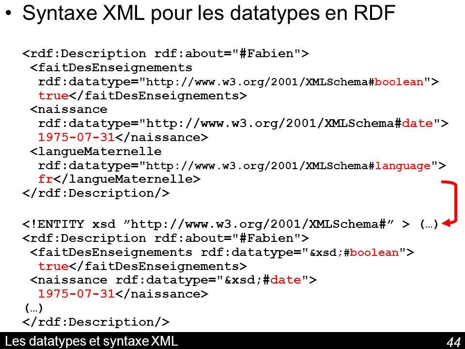 Les datatypes et syntaxe XML