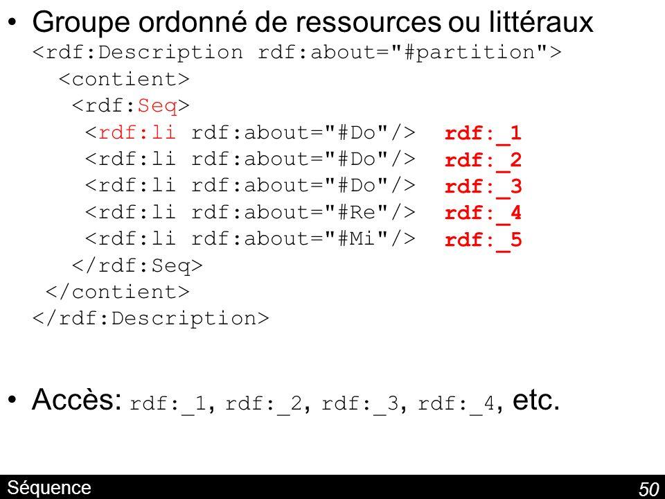 Accès: rdf:_1, rdf:_2, rdf:_3, rdf:_4, etc.