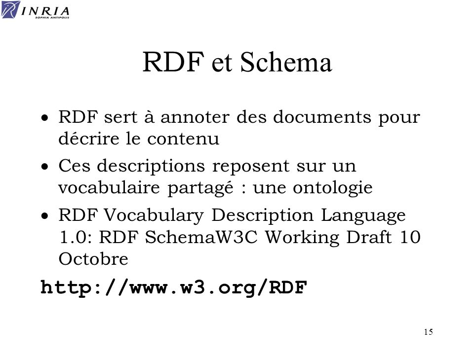 RDF et Schema http://www.w3.org/RDF