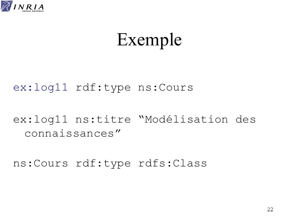 Exemple ex:log11 rdf:type ns:Cours