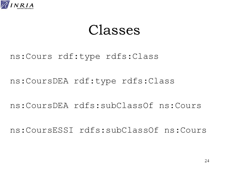 Classes ns:Cours rdf:type rdfs:Class ns:CoursDEA rdf:type rdfs:Class