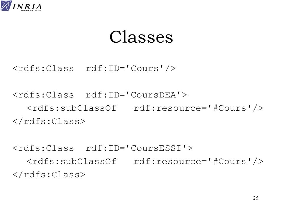 Classes <rdfs:Class rdf:ID= Cours />